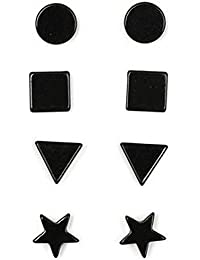 Anokhi Ada Geometric Black Magnetic Earrings for Men and Women (Combo of 4 pairs)