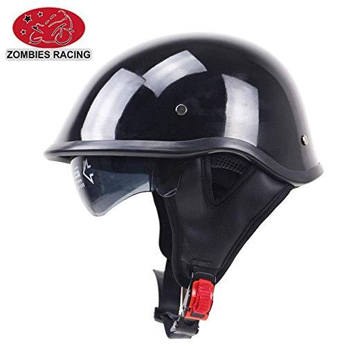 Shfmx Casco Anti-colisión Retro Harley Medio Casco, Dot homologado piloto Jet Mitad Casco Mitad Cara con Parasol,L