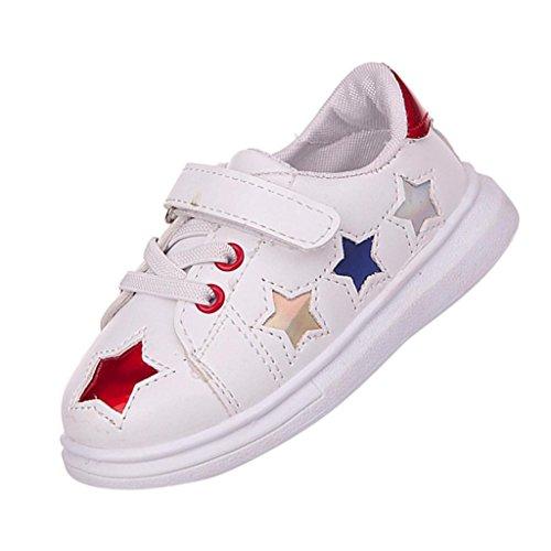 1 Schwarz Rot Herren Turnschuhe (PU Loafers Schuhe Kleinkind Kinder, DoraMe Baby Jungen Mädchen Flachen Sneaker Sport Skate Soft Schuhe Star Anti-rutsch Turnschuhe für 1-6 Jahr (4.5-5 Jahr/Size(CN):28, Rot))
