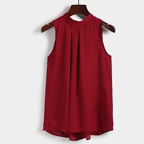 OverDose Frauen beiläufige Chiffon- Bluse Sleeveless Shirt T-Shirt-Sommer-Blusen Tops Wein