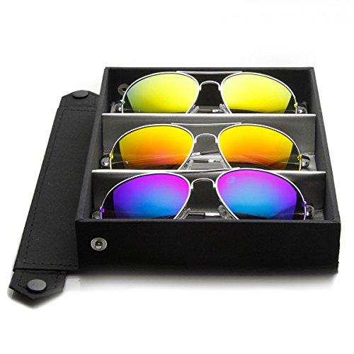 ZeroUV -  Occhiali da sole  - Aviatore - Uomo Silver Deluxe Series | 3-Pack (Fire + Ice + Sun)