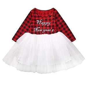 Greenwind Mono para bebé recién Nacido Niño Bebé Niños Niñas Plaid Tops Vestido de tutú Ropa de Feliz año Nuevo 4