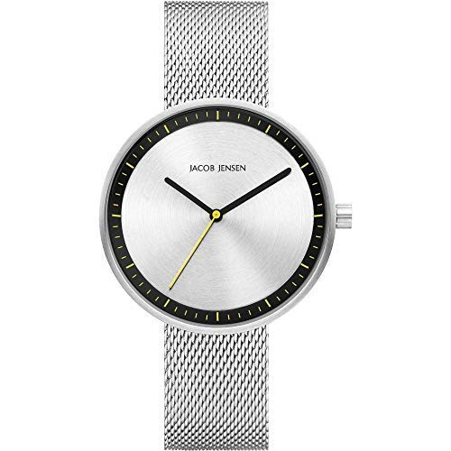 Jacob Jensen Damen Analog Quarz Uhr mit Edelstahl Armband JJ287