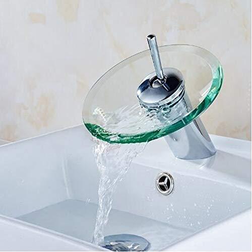 Wasserfall Glas Tülle Becken Waschbecken Wasserhahn Mischbatterie Chrom Poliert Zeitgenosse Kommerziell Groß Bad Schiff Sinken Wasserhahn