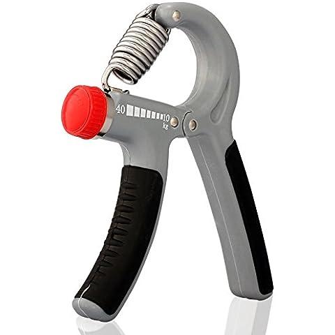 LUPO® Impugnatura per Rafforzamento Mani Esercizio Avambraccio Polso Regolabile 10 – 40 Kgs - Manopole Modellata
