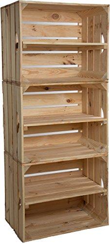 Estantería de cajas Johanna, juego de 3,con una tabla en medio, cajas de manzanas o vino, de madera...