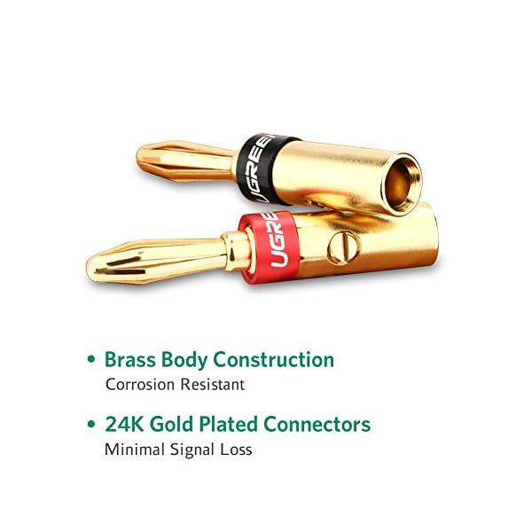 UGREEN Connettori a Banana, 8 PZ Connettori a Spina Banana Banana Plug Placcati in Oro 24k Resistente alla Corrosione