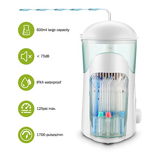 Munddusche, Cozzine Professionelle Oral irrigator Wasser Flosser mit 7 Multifunktionalen Düsen 10 Wasserdruck 600 ml Wassertank für Familie und Reise – FDA/CE genehmigt