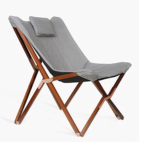 Be&xn Klappstuhl, Massivholz Schmetterling Stuhl Balkontür Office Einzelne Nickerchen Stuhl Portable Outdoor Strand-Lounge-Sessel-C W74xH94cm(29x37inch) (Canvas-schmetterling Stuhl)