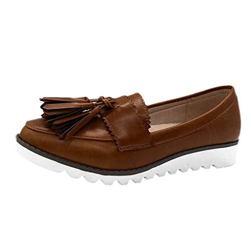 B-commerce Frauen Slip On Freizeit Bootsschuhe Quaste Flach Faule Niedrige Bangfu Peas Schuhe Damen Business Komfortable Einzelne Schuhe Damen