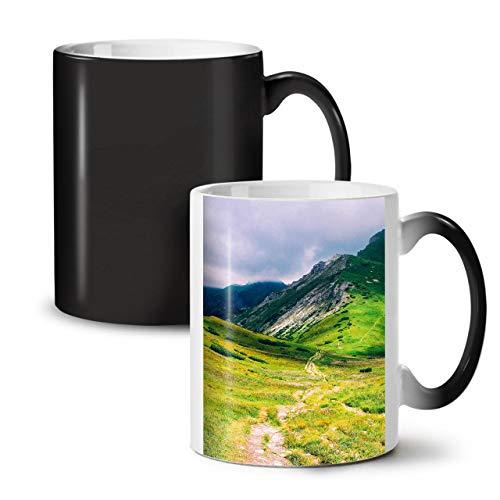 Wellcoda Berg Oben Feld Natur Farbwechselbecher, Grün Tasse - Großer, Easy-Grip-Griff, Wärmeaktiviert, Ideal für Kaffee- und Teetrinker (Kaffee-tassen Grüner Berg)