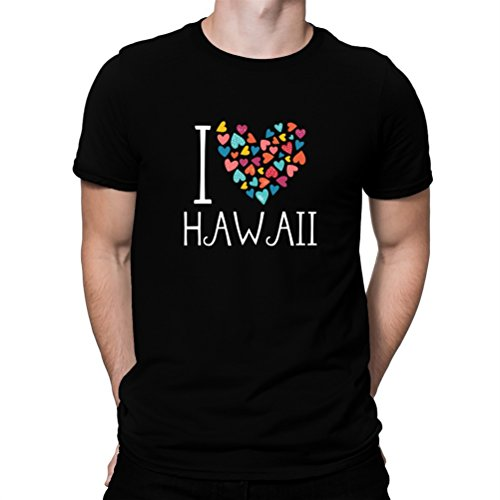 Camiseta-I-love-Hawaii-colorful-hearts