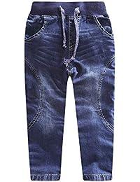 LAPLBEKE Pantalones para Niño Vaqueros Rectos Otoño Invierno Niños Pantalón De con Cintura Elástica