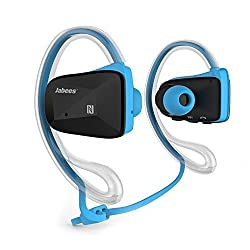 Jabees Sweat Proof Sport Wireless APT-X Bluetooth 4.0 Music Stereo Headset/Headphone/Earbud With NFC&Dual Microphone--Handsfree for Iphone 6 6Plus, 5S 5 4S, Galaxy Note 3 2 S4 S3 and Google,Sony,LG , other Smartphones (Blue)