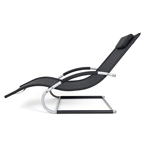 Outdoor Schwingstuhl Miami mit Armlehnen | Sonnenliege ergonomisch geschwungen | Freischwinger schwarz/grau | Gartenmöbel aus Alu und Textilene wetterfest - 5