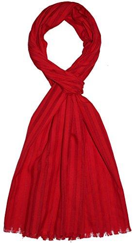 Lorenzo Cana Luxus Herrnschal aus feinster Baumwolle mit Seide aufwändig jacquard gewebte dezente Web-Streifen Naturfaser Schaltuch Tuch 55 x 180 cm
