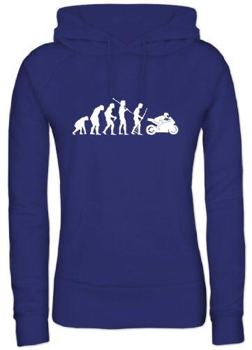Shirtstreet24, EVOLUTION MOTORRAD, Bike Sport Lady / Girlie Kapuzen Sweatshirt - Pullover, Größe: M,Royal Blau