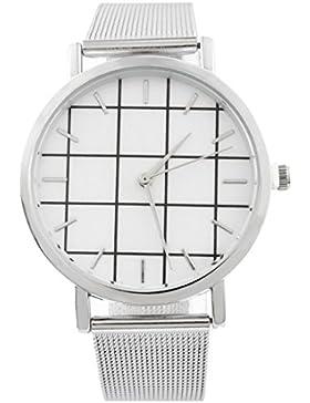 Souarts Damen Armbanduhr Kariert Muster Deko Uhr mit Batterie Charm Geschenk