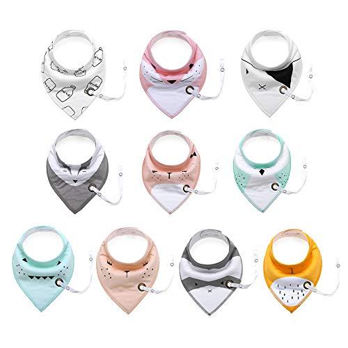 Baby Bandana Drool Lätzchen für Jungen und Mädchen - zum Zahnen, Sabbern Infant - Beißring, verstellbare Druckknöpfe, Schnuller/Toy Tether