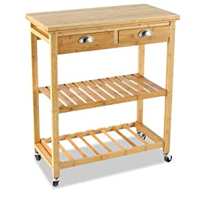 bambou kitchen serving storage trolley on wheels with 2 drawers and 2 shelves. Black Bedroom Furniture Sets. Home Design Ideas