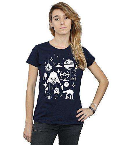 Star Wars Damen Christmas Decorations T-Shirt Large Marine