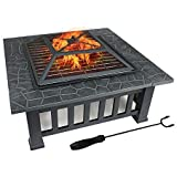 FOBUY - Braciere con ripiano per barbecue, braciere in metallo per esterni, tavolo quadrato e braciere da giardino, terrazza,
