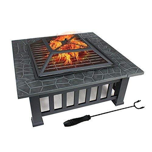 FOBUY pour Jardin Terrasses BBQ Brasero Ménager Barbecue pour Fête et Foyer en Acier Noir Poêle Chauffant Brasero...