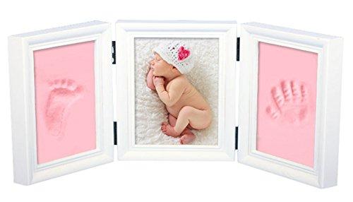 NaiFei Precious Baby Gießkit Deluxe für Baby Handabdruck oder Footprint Qualität Holz Keepsake Frame Kit (Aus Weißer Rahmen)