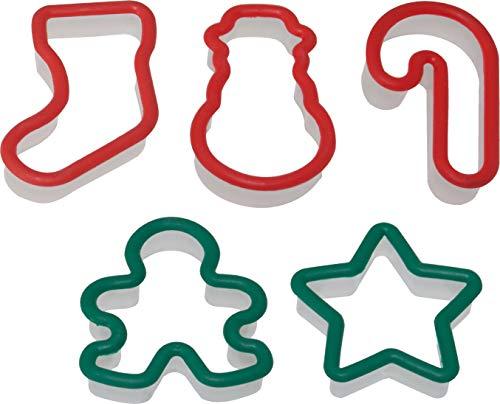 Westmark Kinder Keks-Ausstechformen-Set mit Weihnachtsmotiven, 5-tlg, Je 7-9 cm, Kunststoff, Grün/Rot, 30572230