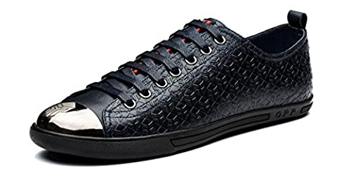 OPP Men's Leather Sneaker Loafer Flat Shoes Metal Head Designer (43EU, Blue-3)