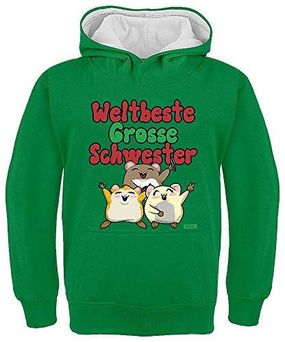 HARIZ Kinder Hoodie Kapuzenpullover Kontrast Weltbeste Grosse Schwester Hamster Baby Kinder Plus Geschenkkarte Grün/Weiß 116/5-6 Jahre -