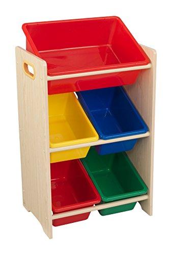 KidKraft 15472 Etagère de rangement, chambre enfant, meuble incluant 5 casiers en plastique interchangeables - couleurs primaires et coloris naturel