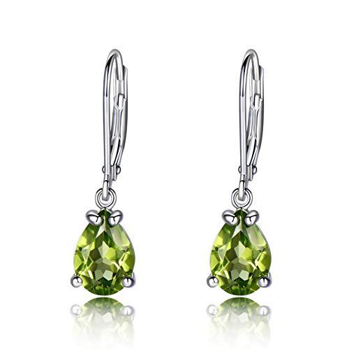 QQSS Natürliche Peridot Edelstein Ohrringe 925 Sterling Silber Stud Ohrringe Designer Schmuck Feine Ohrringe Für Frauen (Designer Ohrringe)