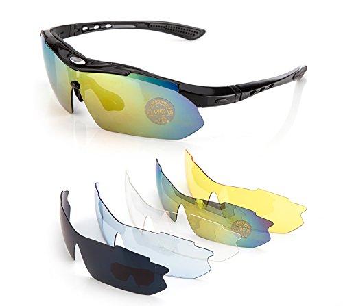 Fahrradbrille,Lypumso Sonnenbrille Polarisiert für Herren und Damen,Radbrille mit 5 Wechselgläsern UV400 Sportbrille für das Fahren Radsports Laufen Skifahren Angeln