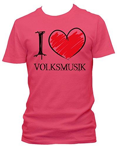 NEON Herren T-Shirt I Love Volksmusik Fun NEON, Größe:XXL;Farbe:neon pink