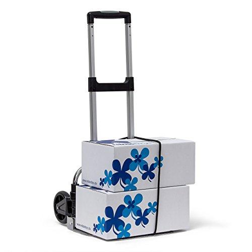 Relaxdays Transport-Trolley bis zu 60 kg HBT: 100 x 38 x 41,5 cm Teleskop-Griff faltbare Sackkarre mit Spanngurt als Handkarren aus Aluminium Gepäck-Trolley für Umzug Einkauf oder Auto, metallic (Leichtes Gepäck-karre)