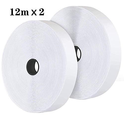 12M Velcro Adhesivo Doble Cara, Belcro Adhesivo Fuerte, Velcro Autoadhesiva de Velcro Adhesivo Cinta 20mm de Ancho (12M Blanco)