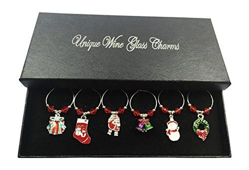 Set von 6Weihnachten Wein Glas Charms mit Geschenkbox handgefertigt von Libby 's Market Place ~ von UK Verkäufer -