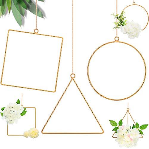 6 Aros Floral Metal Aro Geométrico de Corona Aro Cuadrado Triángulo Redondo Marco de Corona Colgante Guirnalda de Flores de Cuadro para Decoración Pared Boda Colgante de Pared