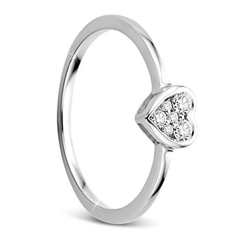 Orovi Damen Verlobungsring Gold Diamantring 9 Karat (375) Brillianten 0.10crt Weißgold Herz Ring mit 6 Diamanten