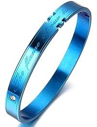 Acero inoxidable pulsera brazalete azul, kb1506 el marco de nuestro amor