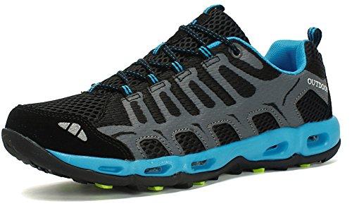 SEECEE Herren Outdoorschuhe Trekkingschuhe Turnschuhe Sneaker Für Männer Rutschfest Laufschuhe Atmungsaktiv Walkingschuhe WanderhalbschuheFitnessschuhe Schwarz Blau 42 EU