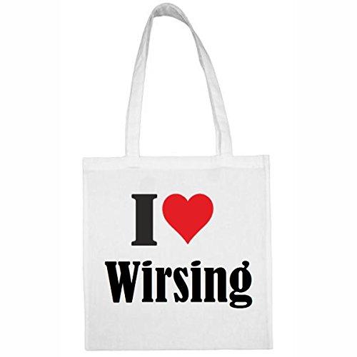 Tasche I Love Wirsing Größe 38x42 Farbe Weiss Druck Schwarz