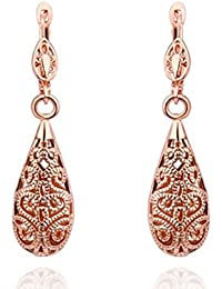 Jhinuq Rose Gold Vintage Drop Earrings For Women (Party, Gift, Festive)