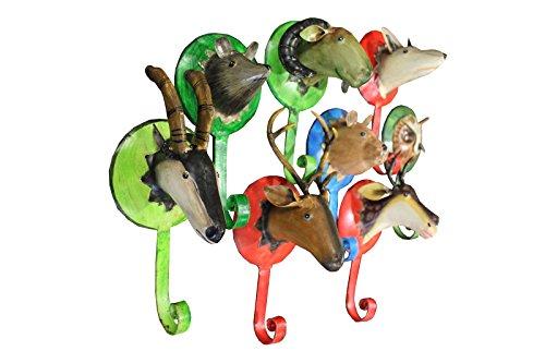 8er SET Garderobenhaken Wandtrophäe WALDTIERE Kunsthandwerk Kleiderhaken Tierfiguren