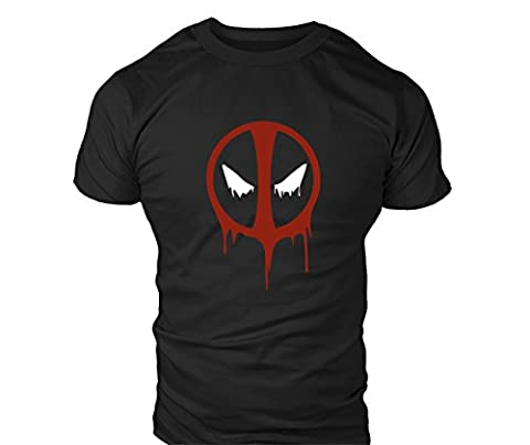 New Mens Deadpool Drip Splat T-Shirt - Training Top - Sports - Bodybuilding Fasion Casual Fitted Fit Top (M)