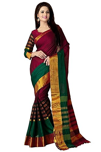 Sarees (for Women Party Wear offer Sarees New Collection Today Low Price Sarees in Multi-coloured Cotton Silk Material Latest Saree With Blouse Free Size Beautiful Sarees With Blouse)