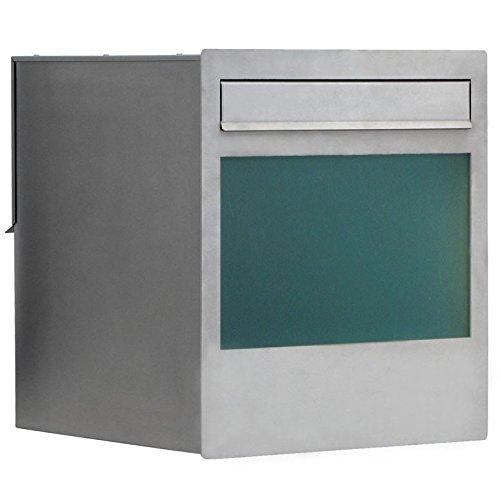 Max Knobloch Mauerdurchwurf-Briefkasten Cube Edelstahl 48 Liter Einbau-Briefkasten
