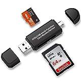 TedGem USB-Kartenleser, SD-/Micro-SD-Kartenleser Viewer Micro-USB OTG auf USB 2.0 Adapter mit Standard-USB-Stecker Micro-USB-Stecker-Anschluss für PC und Notebooks Smartphones/Tablets mit OTG