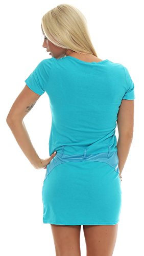 Fashion4Young - Robe - Sans Manche - Femme Gelb Multicolor Turquoise